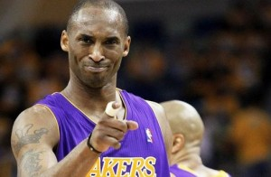 File photograph of Los Angeles Lakers Kobe Bryant reacting after scoring against the New Orleans Hornets